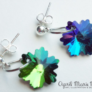 Green and Blue Flower Snowflake Earrings
